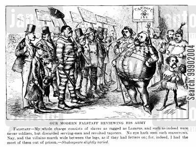 falstaff cartoon humor: New York Corruption - William Tweed Reviews his 'Army' of Supporters