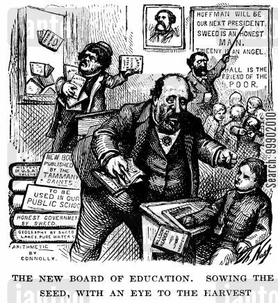 board of education cartoon humor: New York Corruption - The Tammany Ring orders the Board of Education to Destroy all Harper's Text-books