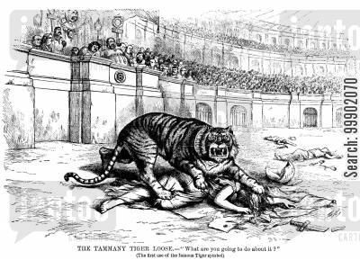 colisseum cartoon humor: New York Corruption - 'The Tammany Tiger Loose- What are you Going to do about It?