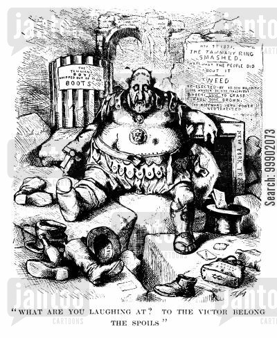 1871 elections cartoon humor: The Tammany Ring Defeated- Tweed as Marius amongst the Ruins of Carthage