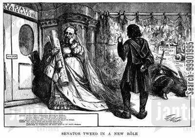 young democracy cartoon humor: New York Corruption - Senator Tweed depicted as Queen Gertrude