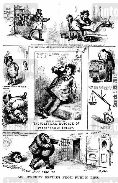 1871 elections cartoon humor: The Tammany Ring Defeated- 'The Political Suicide of Peter 'Brains' Sweeny
