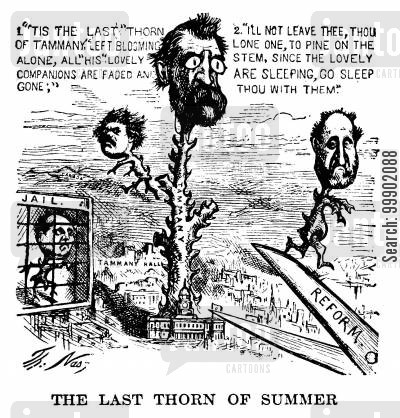corruption cartoon humor: The Tammany Ring Defeated- NY Mayor Oakey Hall as 'The Last Thorn of Summer'