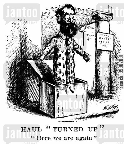new york mayors cartoon humor: Mayor Oakey Hall as a Stubborn Jack-in-the-Box