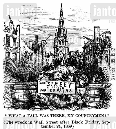 stock exchange cartoon humor: Wall Street Crash, 1869