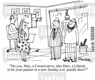 sunday mornings cartoon humor: 'Do you, Max, a Conservative, take Harv, a Liberal, to be your partner in a new Sunday a.m. pundit show?'