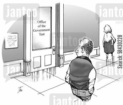government department cartoon humor: Office of the Government Teat...