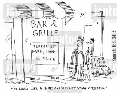 terorist threats cartoon humor: 'It looks like a Homeland Security sting operation.'