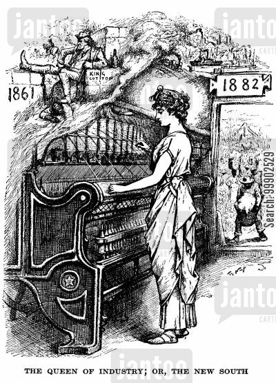 textile industry cartoon humor: 'The Queen of Industry; Or, The New South'