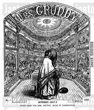 personification cartoon humor: Title Page for 'Mrs Grundy'