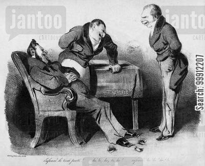 july monarchy cartoon humor: François Guizot and others laughing at the collapse of the Third Party