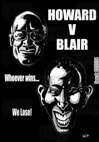 ballot cartoon humor: Howard v Blair. Whoever wins...We lose!
