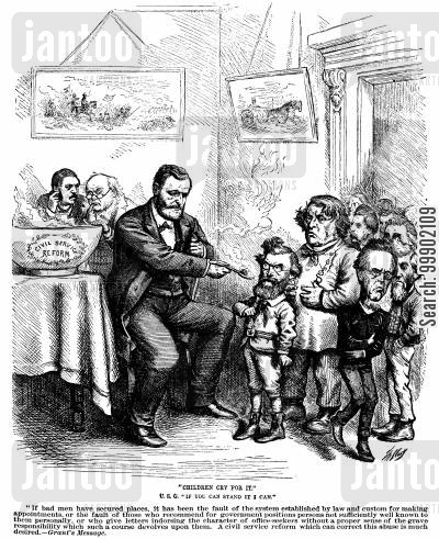 civil service reform cartoon humor: President S Grant's Proposed Civil Service Reform not to the Taste of Certain Senators