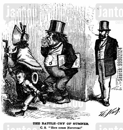 grant cartoon humor: Charles Sumner Accuses President Grant of Nepotism