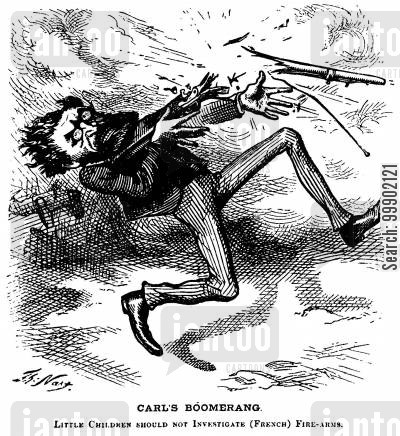 explosions cartoon humor: Carl Schurz attempts to Discredit President Grant over Sale of Arms to France