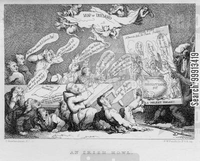 irish union cartoon humor: Irish shock at the consequences of French republican influence