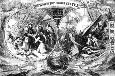 war-time cartoon humor: American Civil War - 'War in the Border States'