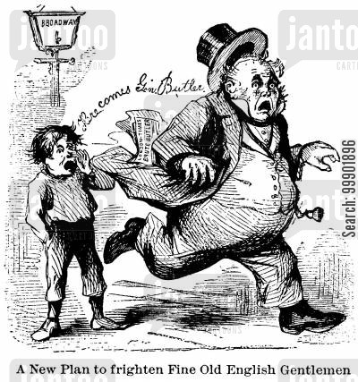 general butler cartoon humor: General Butler scares off John Bull