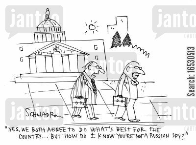 capitols cartoon humor: 'Yes, we both agree to do what's best for the country...but how do I know you're not a Russian spy?'