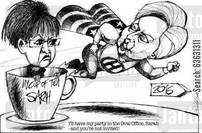 tea party cartoon humor: I'll have my party in the Oval Office, Sarah - and you're not invited!