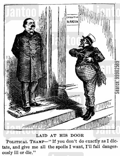 civil service reform cartoon humor: President Cleveland Rejects Office - Seekers, the 'Political Tramp' on His Doorstep