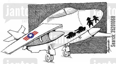 casualty cartoon humor: US military plane carrying women and children.