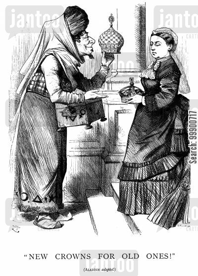 royal titles act cartoon humor: Royal Titles Act,1876: Victoria Becomes Empress of India