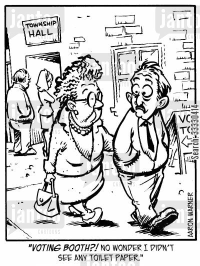 old women cartoon humor: 'Voting booth?! No wonder I didn't see any toilet paper.'