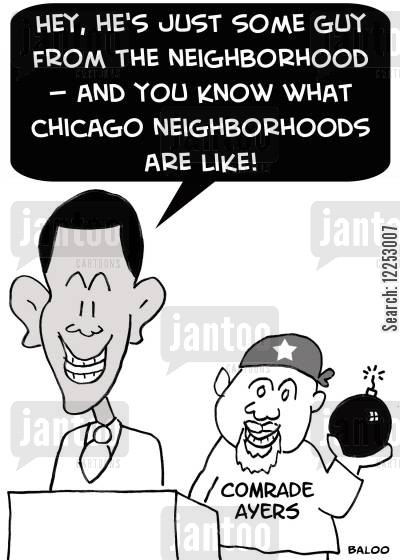 presidential campaign cartoon humor: 'Hey, he's just some guy from the neighborhood -- and you know what Chicago neighborhoods are like!'