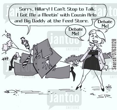 barack cartoon humor: 'Sorry, Hillary! I Can't Stop to Talk. I Got Me a Meetin' with Cousin Arlo and Big Daddy at the Feed Store.