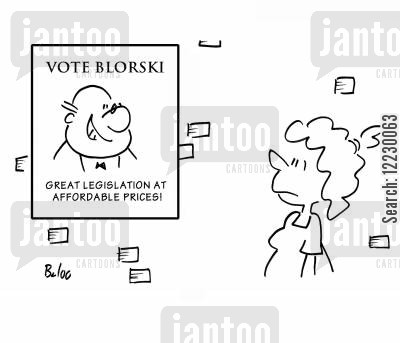 election candidates cartoon humor: Vote Blorski — Great legislation at affordable prices!