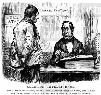 polling station cartoon humor: Election Intelligence.