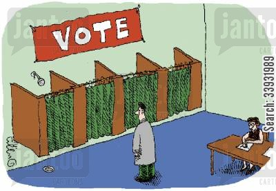 showering cartoon humor: Shower in Voting Booth.