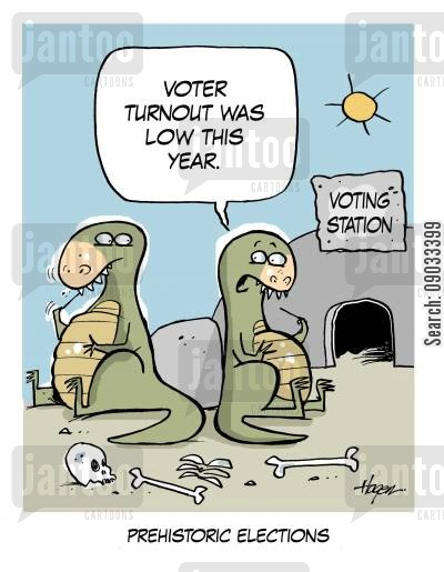 turnout cartoon humor: 'Voter turnout was low this year.' - Prehistoric Elections