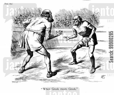 greeks cartoon humor: Prelude to 1892 Election