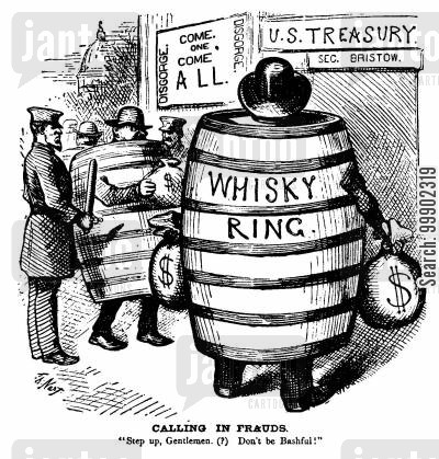 us treasury cartoon humor: The Whisky Ring Scandal Surfaces