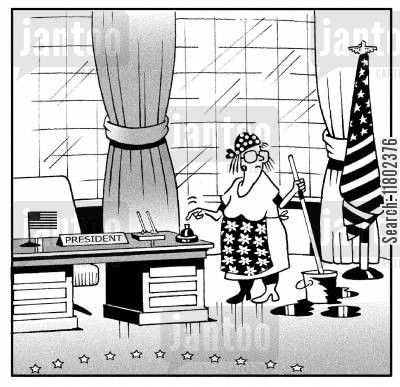 mops cartoon humor: Cleaner in the president's office.