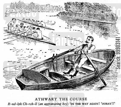 rower cartoon humor: Randolph Churchill Obstructing Gladstone's Second Ministry