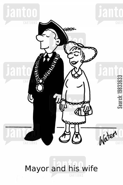 councilors cartoon humor: Mayor and his wife