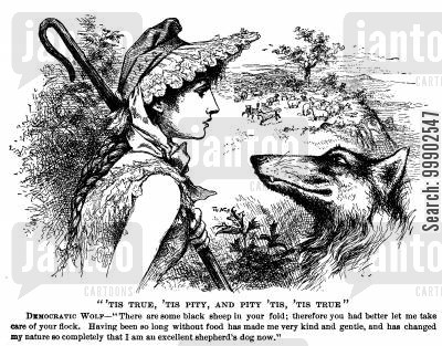 blacks cartoon humor: 1884 Presidential Election - Democratic Wolf Turned Shephard Dog?