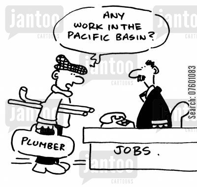 pacific cartoon humor: 'Any work in the Pacific Basin?'