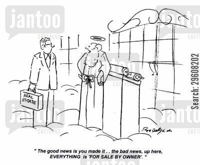 bad news cartoon humor: 'The good news is you made it... the bad news, up here, everything is 'for sale by owner'.'