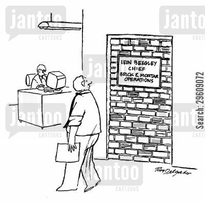 construct cartoon humor: Leon Beegley - Chief Brick & Mortar Operations.