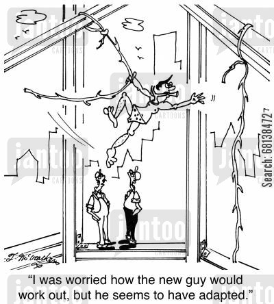 high rise cartoon humor: 'I was worried how the new guy would work out, but he seems to have adapted.'