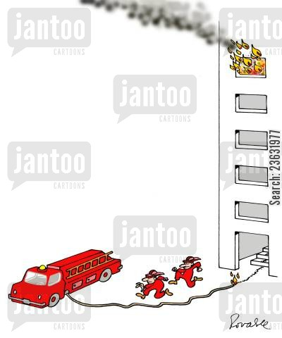 burning building cartoon humor: Fireman