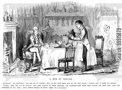 governess cartoon humor: Butler asking to leave because the governess now reads him prayers rather than the master