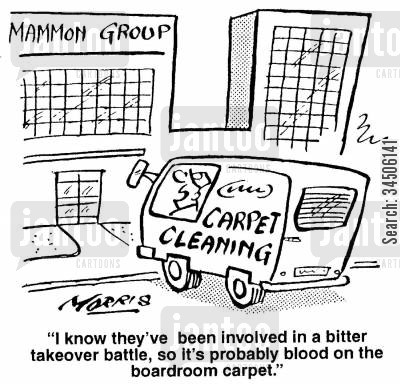 corporate cleaner cartoon humor: '...it's probably blood on the boardroom carpet.'