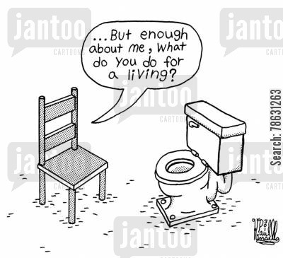 chairs cartoon humor: '...But enough about me, what do you do for a living?'