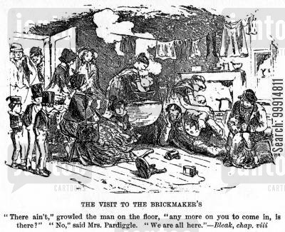 bleak house cartoon humor: The visit to the brickmaker's