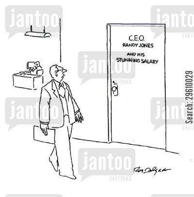 stunned cartoon humor: ...And his stunning salary.